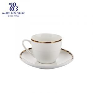bamboo design rim round cup and saucer set