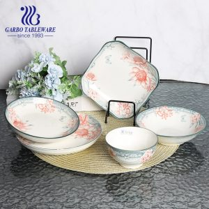 Wholesale under glazed flower design royal plain 7inch fine porcelain dinner plate