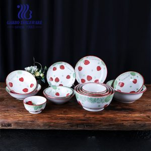 Multifunctional ceramic tableware fancy under glazed strawberry decal fine porcelain dinnerware sets