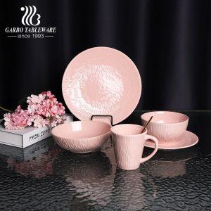 China factory hot-selling 20pcs tableware set for home hotel pink embossed royal ceramic dinner set