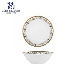 New bone china 300ml ceramic bowl with decorated rim for sale