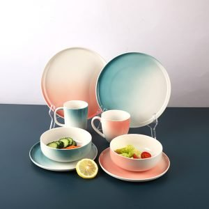 16pcs ceramic dinner set with different material and designs that hot sale for different markets in the world.