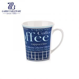 New bone china ceramic coffee time mug cappuccino cup espresso drinks mugs blue color full printing porcelain drinking tumbler