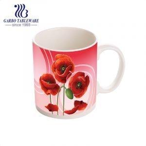 Presente clássico para o dia das mães, flor com estampa de cerâmica, caneca de água decalque completo canecas de porcealin copo com alça de grés