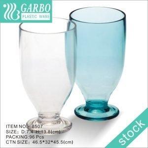 كوب عصير زجاجي من البولي كربونات 13 أونصة شفاف / أزرق مع جذع قصير