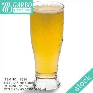 Vaso de cerveza de policarbonato transparente de 12 oz sin BPA con base pesada