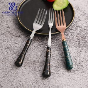 Wholesale 13/0 SS fruit forks with black glazed ceramic handle for dessert