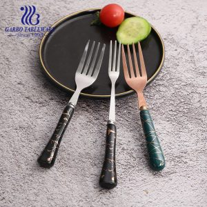 13/0SS decorated ceramic handle cheap dinner forks with good quality