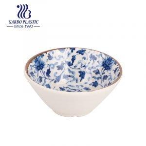 Машинная дешевая нетоксичная 4.5-дюймовая маленькая пластиковая глубокая рисовая миска для супа с полностью традиционным дизайном наклеек внутри