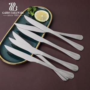 أساسيات 230 مللي متر طول سكين عشاء من الفولاذ المقاوم للصدأ الغذاء الصف 9 بوصة 410ss أدوات المائدة البولندية