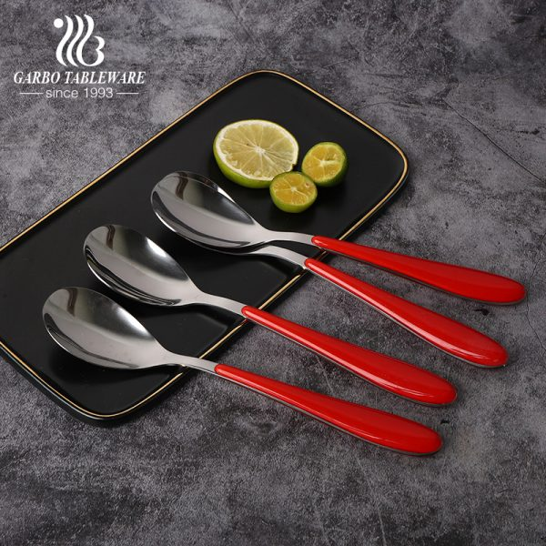 ABS Plastic handle with mirror polished 410 grade stainless steel flatware dinner dessert spoon