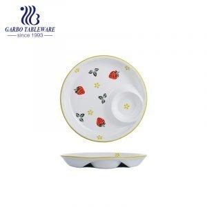 Prato de porcelana redondo de 10 polegadas com desenho de morango pintado à mão chique e exclusivo