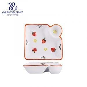 """Venda por atacado exclusivo personalizado de morango pintado à mão com design de porcelana quadrada profunda de 9 """"travessa"""