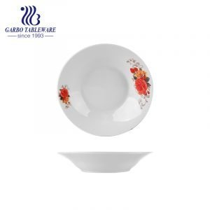 Hot selling factory price cheap stoneware dish banquet party serving 8inch ceramic soup dish plate