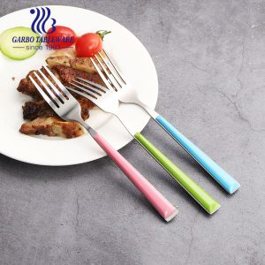Wholesale 8 inches cheap dinner forks with pink color clamp plastic handle