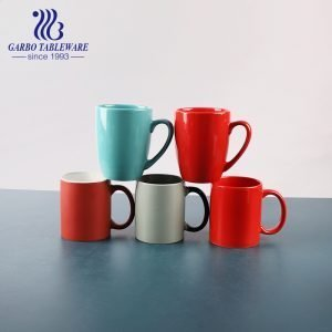 Good quality ceramic drinking mug color glass red classic round water mugs stonware Cup With Handle simple design Chinastone drink ware