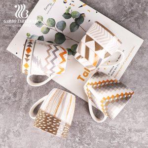 كوب سيراميك مطبوع بالكامل بورسلين هدية أكواب مياه الشرب أكواب حليب وقهوة عالية الجودة 350 مللي كوب بمقبض