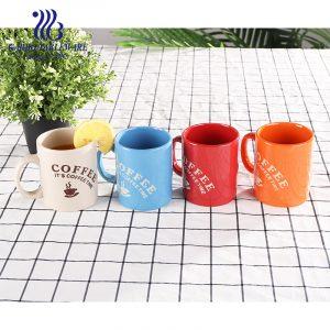 Chinastone السيراميك اللون طباعة القدح القهوة اسبريسو أكواب الشرب اللون المزجج الحجري الأحمر كوب 300 مللي أكواب المياه الكلاسيكية