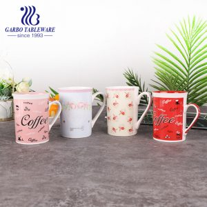 Ceramic coffee drinking mug porcelain underglaze print drinks mugs set 230ml pink water cup China supplier wholesale stoneware