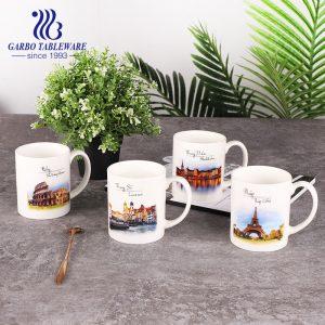 Ceramic porcelain print mug high white quality pretty souvenir travel gift famous popular new bone china drinking mugs round classic shape cup