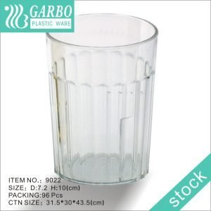 Cute transparent polycarbonate glass drinking tumbler 10oz with line design