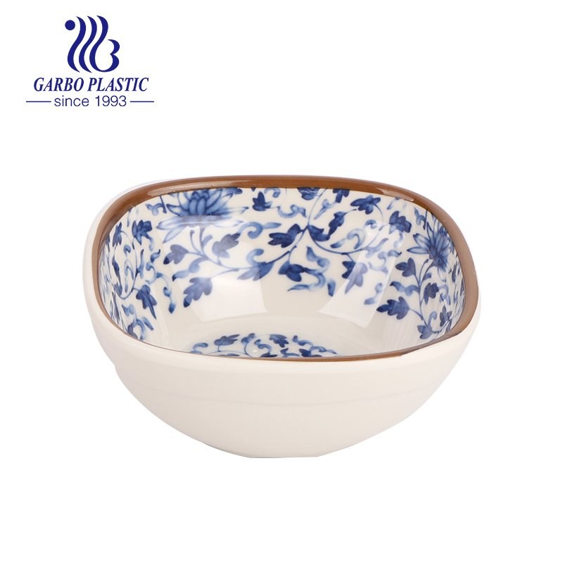 Eco-friendly non-disposable light acrylic plastic square dessert soup bowl with Chinese traditional style pattern