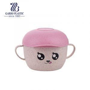 Tazón de sopa de postre acrílico de plástico de alta calidad no tóxico con tapa de sombrero de color de emoción de dibujos animados para niños