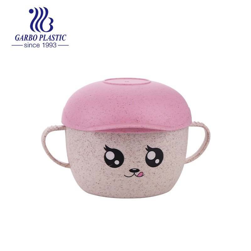 bowl with cartoon emotion colored hat lid for kids