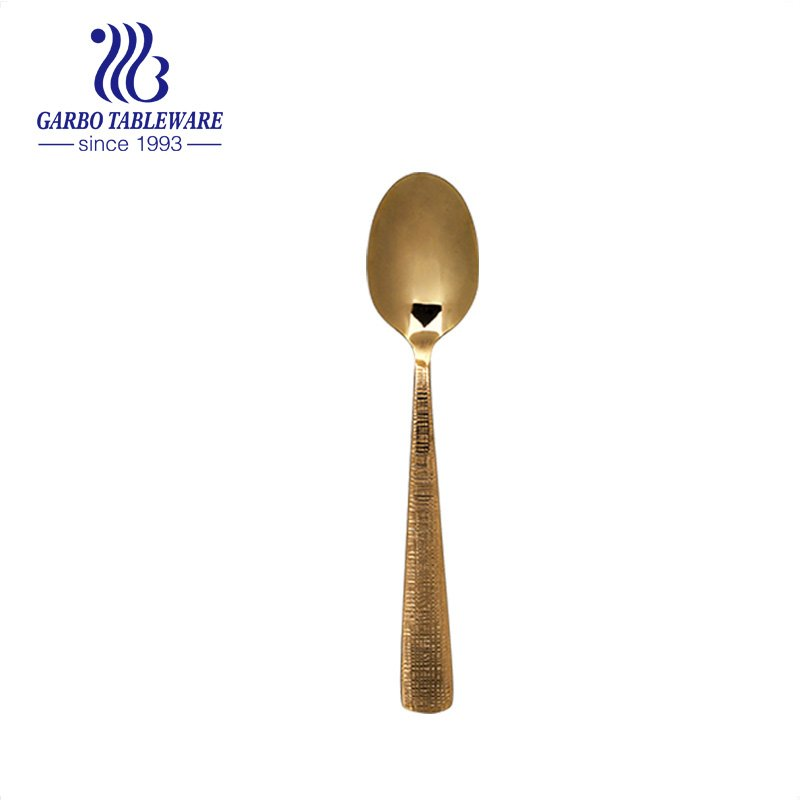 Wholesale classical 410SS Golden titanium plating stainless steel cutlery dinner spoon