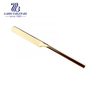 Mirror polish gold color flatware stockable 420 stainless steel dinner knife for wedding decoration