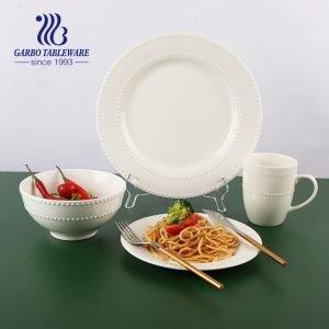 Sistema de cena en relieve punto de alta calidad de la placa del cuenco de la porcelana del diseño