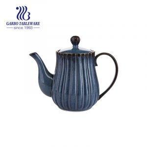 إبريق شاي بتصميم عمودي من الخزف ذو درجة حرارة عالية مع زجاج أزرق