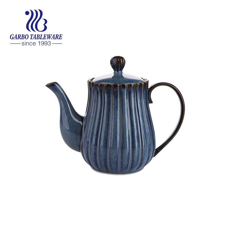 blue color glazed teapot
