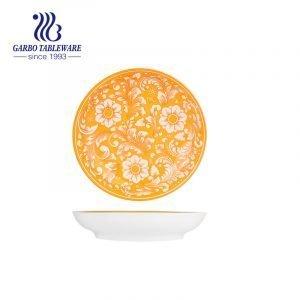 Plato único barato del postre de la porcelana de la caja fuerte 7inch de la microonda de la decoración del OEM del precio de fábrica