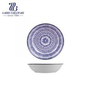 Prato de grés porcelânico de qualidade alimentar, azul e exclusivo com decalque vitrificado Prato de sobremesa de cerâmica plana de 8 polegadas