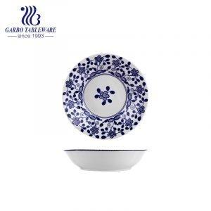 Prato de grés barato de fábrica na China com decoração vitrificada personalizada em estilo chinês Placa de cerâmica de 8 polegadas