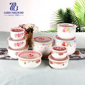 Hotsale 3pcs porcelain bowl set food container with customized decal