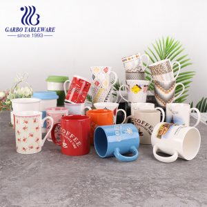 Full decal print porcelain good quality water mug ceramic coffee drinking mugs cold drinks cup with special handle juice cups