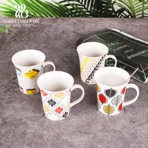 Ceramic coffee drinking mug porcelain leaves decal print coffee mugs juice and water office cup set with handle gift cups drink ware