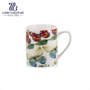 Butterfly full decal print porcelain water drinking mugs home daily use classic ceramic mug with custom design big handle