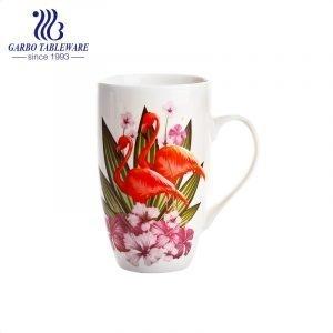 Ceramic classic full decal print water mug big volume 400ml porcelain mug stoneware china stone  juice drinking mug