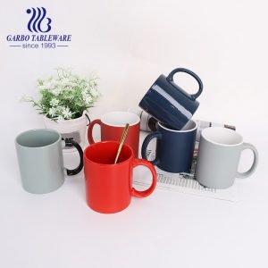 Stoneware china ceramic mug with color glaze handle grey drinking mug porcelain daily  juice cup for home decoration