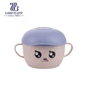 Ensalada plástica sana linda de los noddles del emoji con la tapa del diseño del sombrero púrpura modificado para requisitos particulares