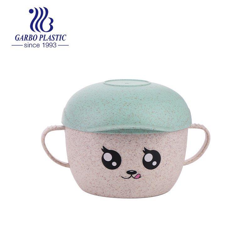 plastic bowl with emotion hat shape lid for kids