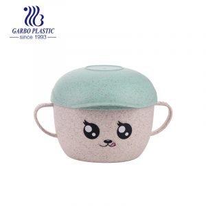 Cuenco de plástico acrílico plástico de dibujos animados ecológico ligero con tapa de forma de sombrero de emoción para niños