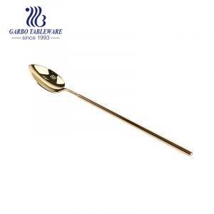 Mirror polish gold titanium plating 304 stainless steel tea spoon set of 6pcs