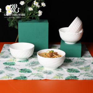 High quality 400ml white ceramic rice bowl with outside design