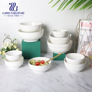 Wholesale 460ml daily popular ceramic noodle bowl with oral edge