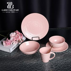 700ml pink color-glazed noodle bowl with embossed for wholesale