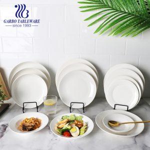 Placas de cargador de porcelana redonda plana de promoción de vajilla de porcelana de hotel clásico de 7/8/9/10/11 pulgadas
